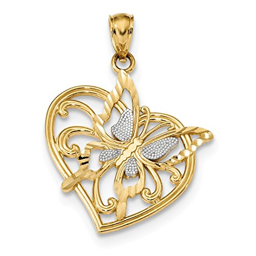 ICE CARATS 14kt Yellow Gold Butterfly Heart Pendant Charm Necklace Animal Fine Jewelry Ideal Gifts For Women Gift Set From Heart 14kt Gold Butterfly Charm Pendant