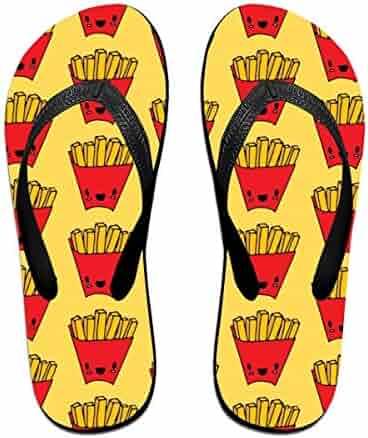 9ae8c57a04598 KLSMM Couple Slipper Fries Cute Pattern Print Flip Flops Unisex Chic  Sandals Rubber Non-Slip