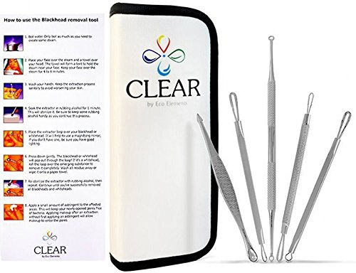 Clear Blackhead and Blemish Remover Tool Kit with Hygiene Instructions! Esthetician