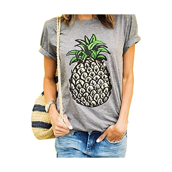 c5c8db1f19b Haola Women s Summer Street Printed Tops Funny Juniors T Shirt Short Sleeve  Tees Grey2 M