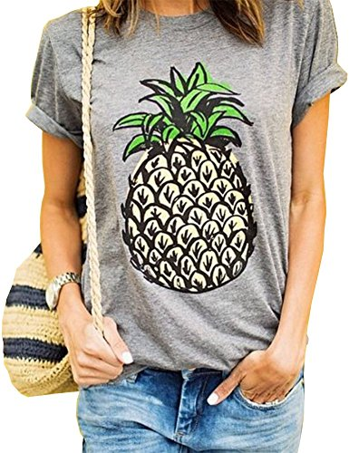 Haola Womens Summer Street Printed Tops Funny Juniors T Shirt Short Sleeve Tees Grey2 M