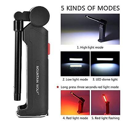 SHUDAGE Emergency Outdoor Flashlights ? New 5 Mode COB Flashlight USB Rechargeable LED Work Light Magnetic Hanging Lamp Black
