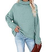 TECREW Women's Long Sleeve Turtleneck Chunky Sweater Loose Cozy Knit Pullover Jumper Tops