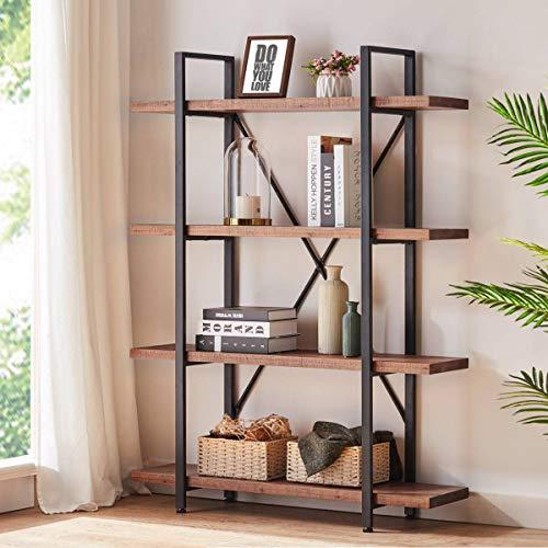 HSH Solid Wood Bookshelf, 4 Tier Rustic Vintage Industrial Etagere Bookcase, Open Metal Farmhouse Book Shelf, Distressed Brown (Bookshelf Metal Wood)