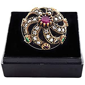 Women's 925 Sterling Silver Ruby and Zircon Ring - 11