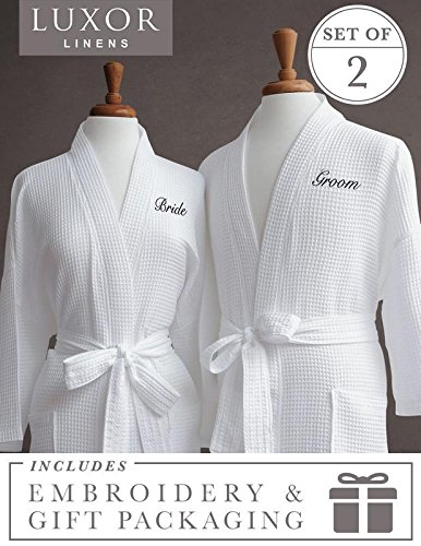 Luxor Linens Egyptian Cotton Waffle Weave Robe with Bride/Groom (Gift Packaging) Couple's Embroidery, Black (Couple Monogram)