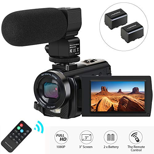Video Camera Camcorder,Actinow Digital Camera Recorder with Microphone HD 1080P 24MP 16X...