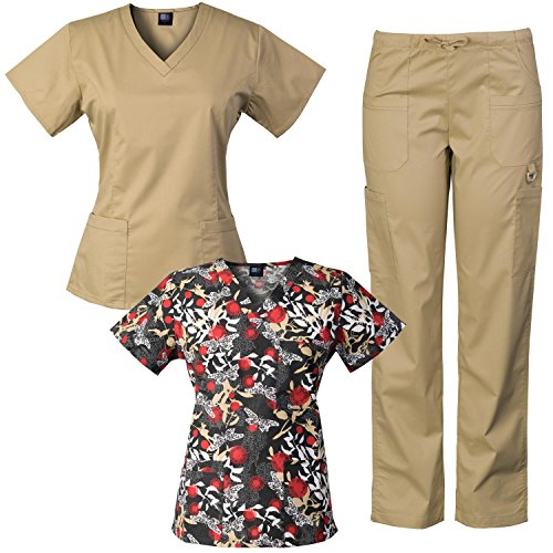 Medgear 3-Piece Eversoft Stretch Scrubs Set with Printed Top Combo ()