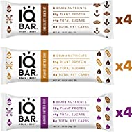 IQ BAR Brain + Body Bars, Chocolate Lovers Variety | Keto, Paleo-Friendly, Vegan | 10-11g Protein, 1g Sugar, 4g Net Carbs | Non-GMO, Gluten-Free, No Sugar Alcohols | 12-Count (3 Flavors)