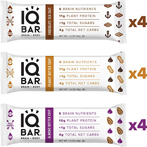 IQ BAR Brain + Body Bars, Chocolate Lovers Variety | Keto, Paleo-Friendly, Vegan | 10-11g Protein, 1g Sugar, 4g Net Carbs | Non-GMO, Gluten-Free, No Sugar Alcohols | 12-Count (3 Flavors)