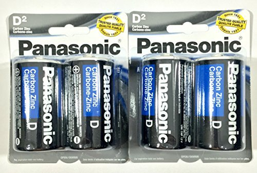 4Pc Size D Panasonic Batteries Super Heavy Duty Power Zinc Carbon