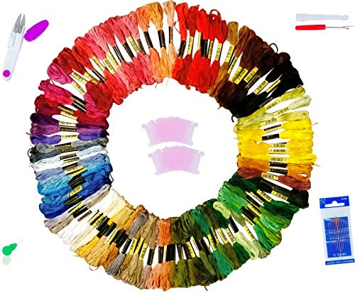 Cross Threader (Embroidery Thread Floss by Fabu-Rix | 100 Finest Quality Multicolored Skeins | Ideal for Cross-Stitches and Friendship Bracelets – Bonus Tools Threader, Bobbins, Needles, Yarn Scissors & Untwist Tool)