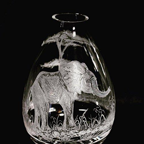 Deco Elephant Art (Hand Engraved Bud Vase,, Elephant Vase, Art Deco Vase, Crystal Bud Vase, Elephant Etching)
