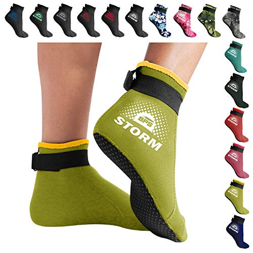BPS Storm 'Smart Sock' Ultra Premium Water Fin Sock (Low Cut - Unisex) 3mm Neoprene Glued and Blind Stitched w/Fit Adjustment Straps for Snorkeling, Tide-Pooling and All Water and Sand Activities