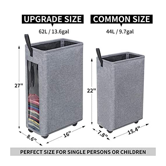 """ZERO JET LAG 27 inches Slim Laundry Hamper Large Tall Laundry Basket on Wheels Clear Window Visible Dirty Clothes Hamper… - 【HEIGHTEN & WIDEN SIZE】 The updated laundry basket allows you to pack more clothes than before,at least 3 to 4 more clothes.so you don't have to go to the laundry room often.Refer size:16""""×8.6""""×27"""" Capacity:62L / 13.6gal 【CLEAR & SIMPLY 】With a transparent window, you do not need to go through of piles before you find what you are looking for. Save time, just peep through the """"window"""" and see if to open. 【PU HANDLE & WHEEL DESIGN】Comfortable PU handle allow you to easily move a dirty laundry basket.The wheels under the hamper make it easy to transport. - laundry-room, hampers-baskets, entryway-laundry-room - 51pyef80rzL. SS570  -"""