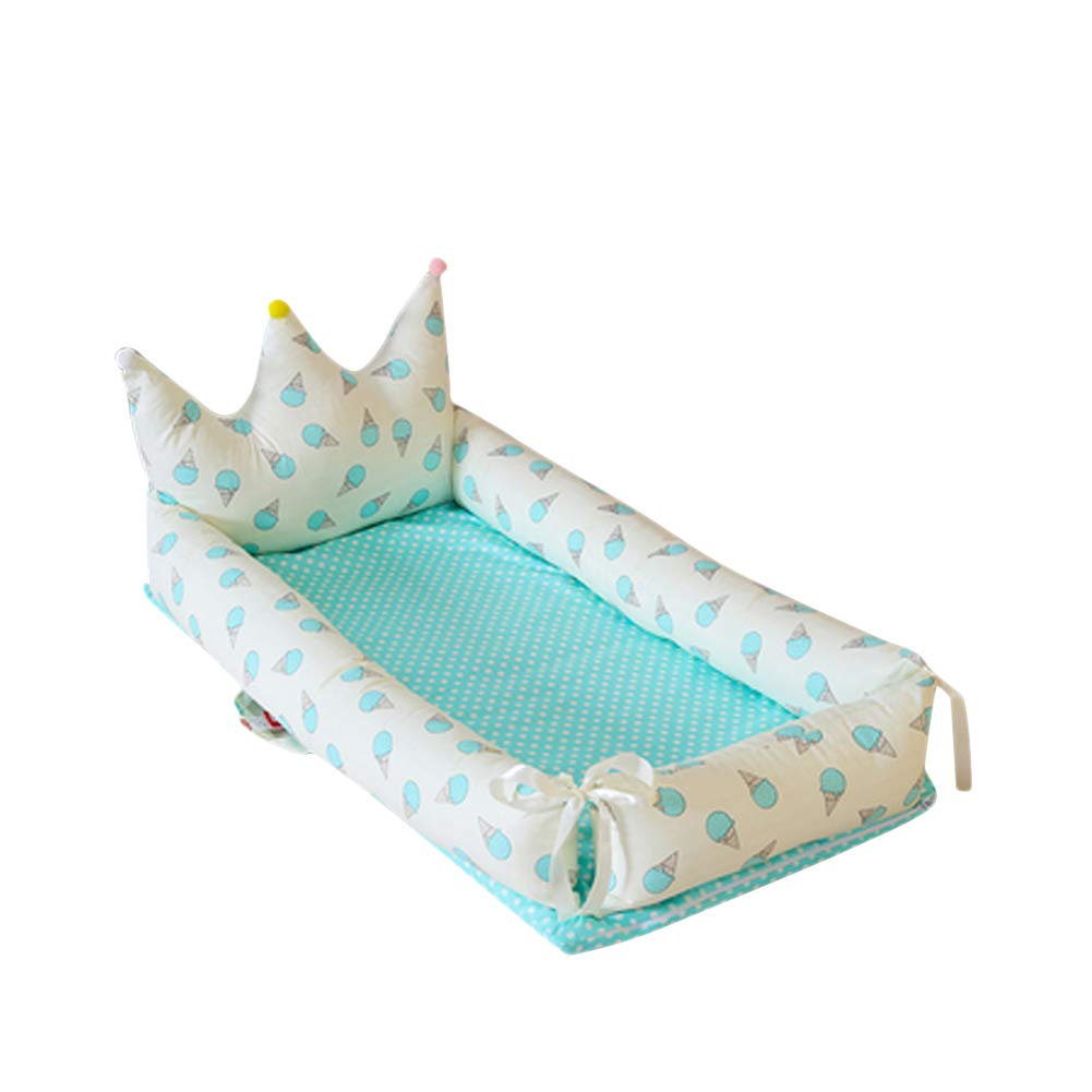 Liitrton Portable Baby Lounger Soft Cotton Bed Bassinet for Bedroom or Travel (Blue)