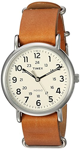 Timex 'Weekender Oversized' Quartz Brass and Leather Casual Watch, Color:Brown (Model: T2P4929J)