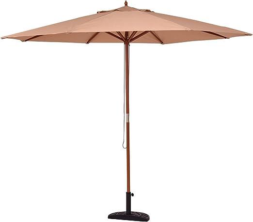 Deuba Ombrellone /Ø 330cm in legno idrorepellente Ombrellone da giardino terrazza patio rosso