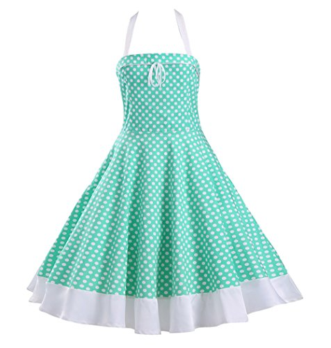 Tecrio Vintage 50s 60s Style Marilyn Costume Halter Neck Polka Dots Party Dress L Green (60s Party Costumes)