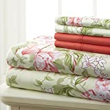 Spirit Linen Hotel 5Th Ave Prestige Home Collection 6 Piece Sheet Set, Queen, Rose Floral