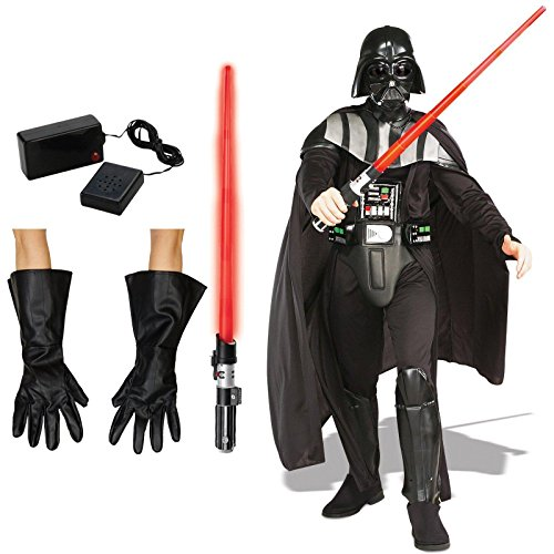 Adult Deluxe Darth Vader Costumes (Star Wars Darth Vader Costume Bundle Set - Adult Standard Costume, Gloves, Lightsaber, and Breathing Device)