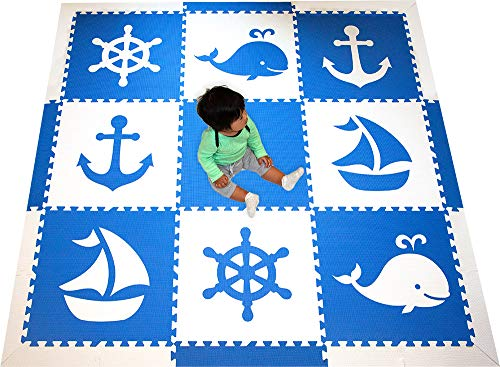 SoftTiles Kids Interlocking Foam Playmat with Sloped Edge Pieces- Nautical Ocean Theme - Large 2' Floor Tiles for Playrooms and Baby Nursery- Large 6.5 x 6.5 ft. - Blue and White SCNAUBW