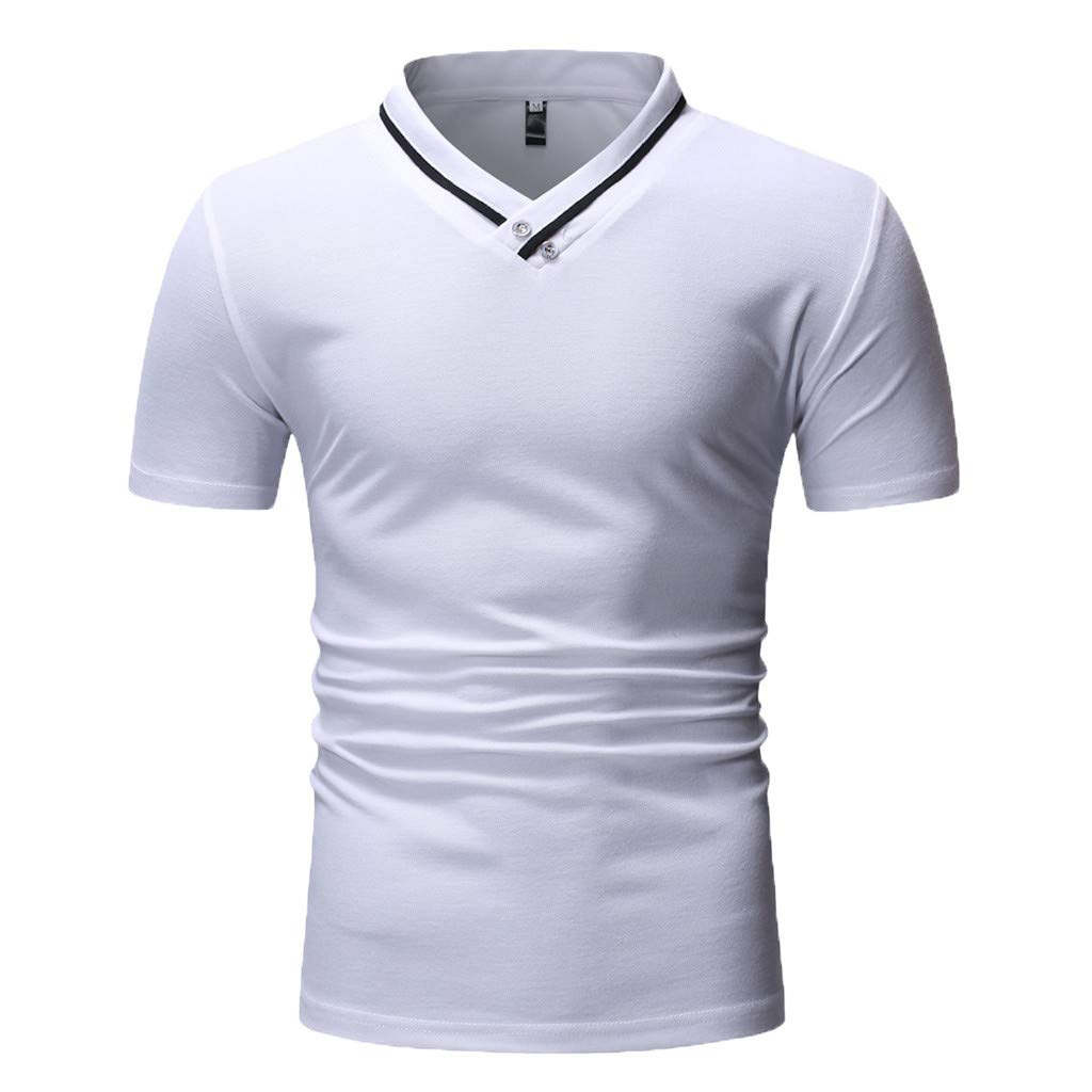 FabalMens Fashion Short Sleeve Henry Painting Large Size Casual Top Blouse Shirts