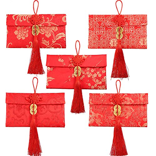 Leinuosen 5 Styles Silk Red Envelopes Chinese Hongbao Lucky Envelopes Chinese Element Gift Card Envelopes for Christmas, New Year, Chinese Wedding (Style C) (Cards Christmas Chinese)