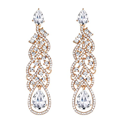BriLove Wedding Bridal Dangle Earrings for Women Crystal Teardrop Hollow Floral Leaf Cluster Earrings Clear Gold-Toned