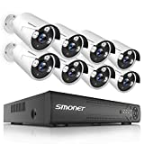 【2019 New】 Home Security Camera System,SMONET 8-Channel DVR Kits(1TB Hard Drive),8pcs Outdoor Surveillance Cameras,Video Security System with Free APP,Super Night Vision for DVR Camera System,P2P