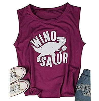 Huiyuzhi Womens Wino Saur Tank Top Funny Drinking Shirt Tank Tops