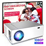 BOMAKER Native 1080p Projector, 4K Projector Ultra HD Support, 8000:1 Contrast Ratio, 50% Zoom Out, ±50°Horizontal & Vertical Keystone, 6000 Lux, Compatible with TV Stick, Android, iOS, HDMI