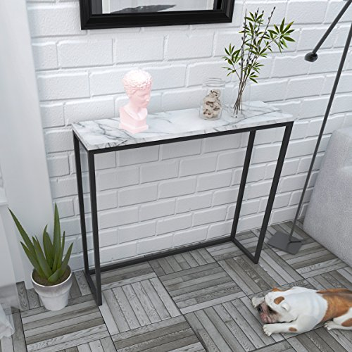 Tilly Lin Modern Accent Faux Marble Console Table Black
