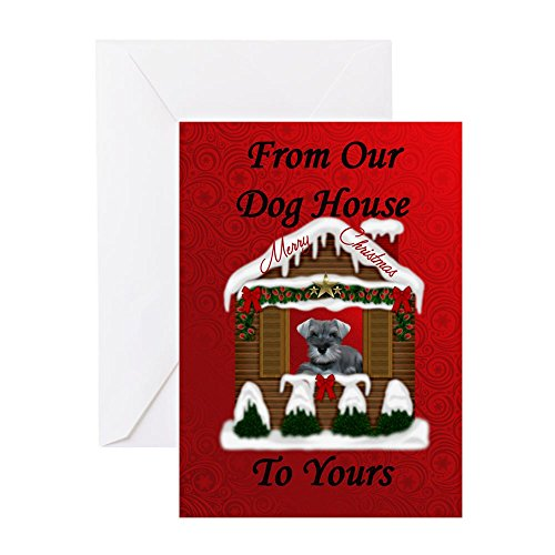 CafePress Christmas Dog House Schnauzer Greeting Cards Greeting Card, Note Card, Birthday Card, Blank Inside Glossy