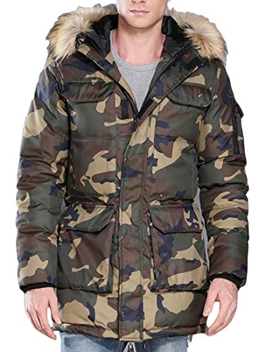EKU Men's Camouflage Faux Fur Hooded Zipper Quilted Padded Military Down Jacket Parka 2