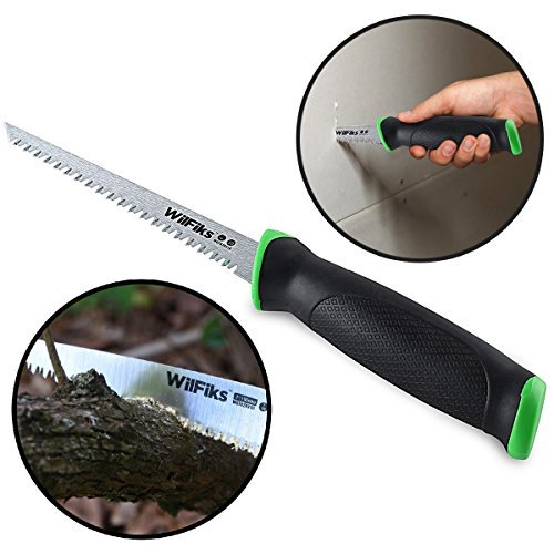 """(WilFiks Razor Sharp 6.5"""" Pro Jab Saw, Drywall Hand Saw, Perfect For Sawing, Trimming, Gardening, Pruning & Cutting Wood, Wallboards & More, Comfortable Ergonomic Non-Slip Handle, Has A Sharpened Tip)"""