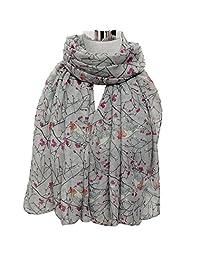Changeshopping Lady Long Cute Bird Print Scarf Wraps Shawl Soft Scarves (Gray)