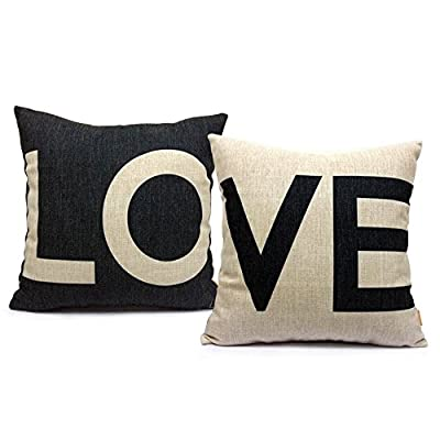 "18 X 18"" Decorative Cotton Linen Throw Pillow Cover Cushion Case Couple Pillow Case"