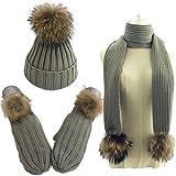Women Pom Pom Beanie Hat Scarf Gloves Set Winter Thick Knitted 3 piece Mitten Sets