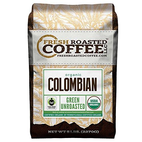Green Unroasted Coffee Beans, 5 LB. Bag, Immature Roasted Coffee LLC. (Organic Colombian Sierra Nevada Fair Trade)