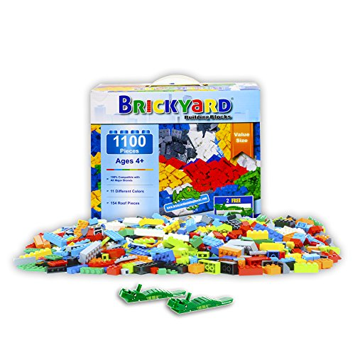 Brickyard Building Blocks Building Bricks - 1,100 Pieces Compatible Toys Bulk Block Set with 154 Roof Pieces, 2 Free Brick Separators, and Reusable Storage Box with Handle (1,100 pcs) (Set Block Building)