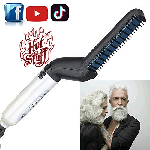 DDONG Hair Straightener Electric Hair Comb for Men, Beard Straightener Brush, Hot Tools Hair Flat Curling Iron, Fast Shaping for Beard Grooming And Hair Styling for Men (white)