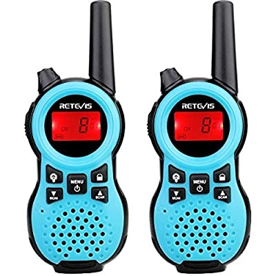 Retevis RT38 Walkie Talkie Hand Free Small FRS LED Flashlight Scan 22 Channels Long Range Two Way Radio for Outdoors(Blue, 2 Pack): Car Electronics