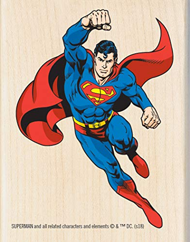 (Inkadinkado Superman Figure Wood Mounted Rubber Stamp for Card Making and Scrapbooking, 1pc, 2.72''L x 3.51''W)