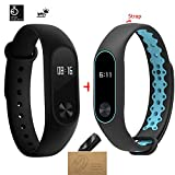 Xiaomi Mi Band 2 With a Strap Bluetooth 4.0 Mi Band 2 Wristband Bracelet With OLED Display Water-resistant Smart Heart Rate Fitness Tracker (black and blue)
