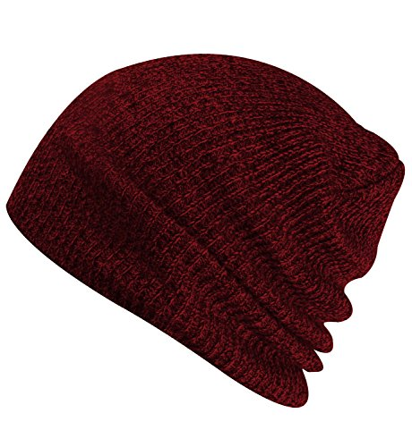 Ski Beanie Cap - Paladoo Slouchy Winter Hats Knitted Beanie Caps Soft Warm Ski Hat Wine Red