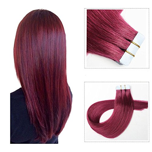 Mario Hair Tape In Human Hair Extensions Silky Straight Skin Weft Human Remy Hair (16 inches, Bug)