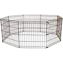 Tall Dog Playpen Crate Fence Pet Kennel Play Pen Exercise Cage -8 Panel Black