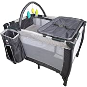 Tykegear Portable and Washable Baby Pack N Play Playard with Removable Diaper Changer, Storage Pocket, Toy Bar and Infant Bassinet
