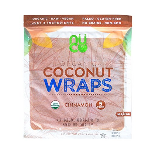 All-Natural, Paleo, Gluten Free, Vegan Non-GMO, Kosher Raw Veggie NUCO Coconut Wraps Cinnamon Flavor. NO Salt Added Low Carb and Yeast Free 5 Count (One Pack of Five Wraps -